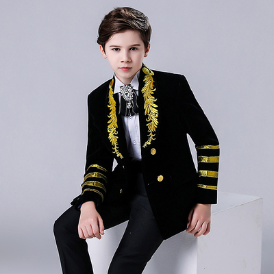 Boy's jazz dance sequin coats chorus host singer performance jacket blazers Children suit boy piano performance suit, show suit coat, British style host