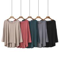 Mo поколение Сеул длинный рукав Нижняя рубашка, женская, летняя круглый воротник тонкий стиль Короткая и длинная футболка большой размер Свободный тонкий сплошной цвет верх одежда