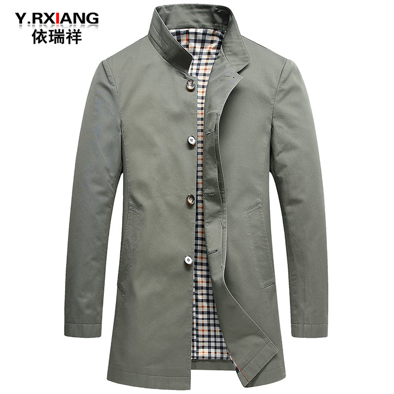 Áo khoác nam mùa xuân và mùa thu 2020 cho nam mid-slim slim nam đứng cổ áo choàng áo khoác xu hướng áo khoác giản dị - Áo gió