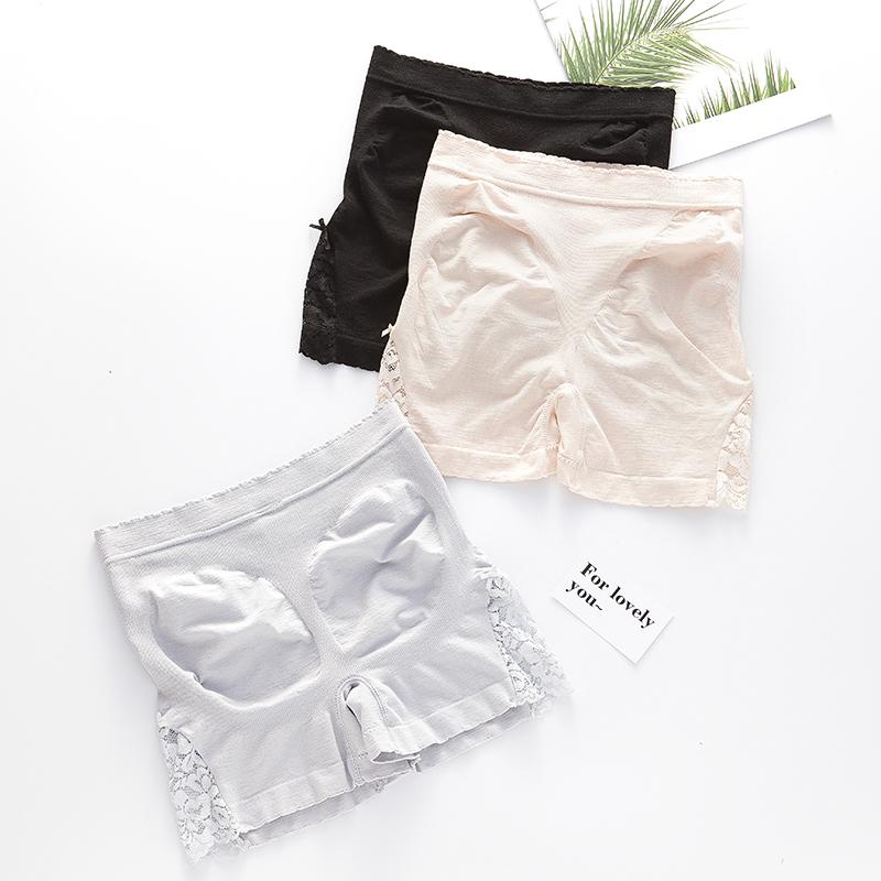 Quần an toàn, chống rỗng lưng giữa mùa hè của phụ nữ, bụng, đáy quần cotton nguyên chất, hông thoáng khí liền mạch, quần sịp boxer cỡ lớn, legging - Tam giác