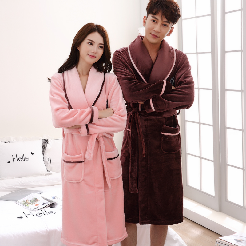 Flannel XL Women s Spring and Autumn Winter Nightgown Thick Bathrobes  Couple Long-Sleeved Coral Velvet ef8fbeed4