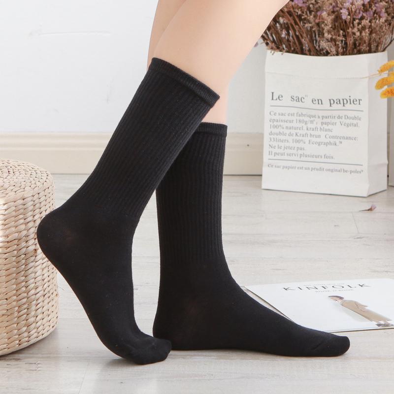 黑色女士高筒袜纯棉ins潮袜美腿瘦腿袜全棉堆堆袜女全棉长筒袜子