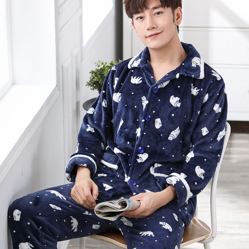 5106379cae Men s pajamas spring and autumn thick coral velvet pajamas men s long-sleeved  suit flannel autumn