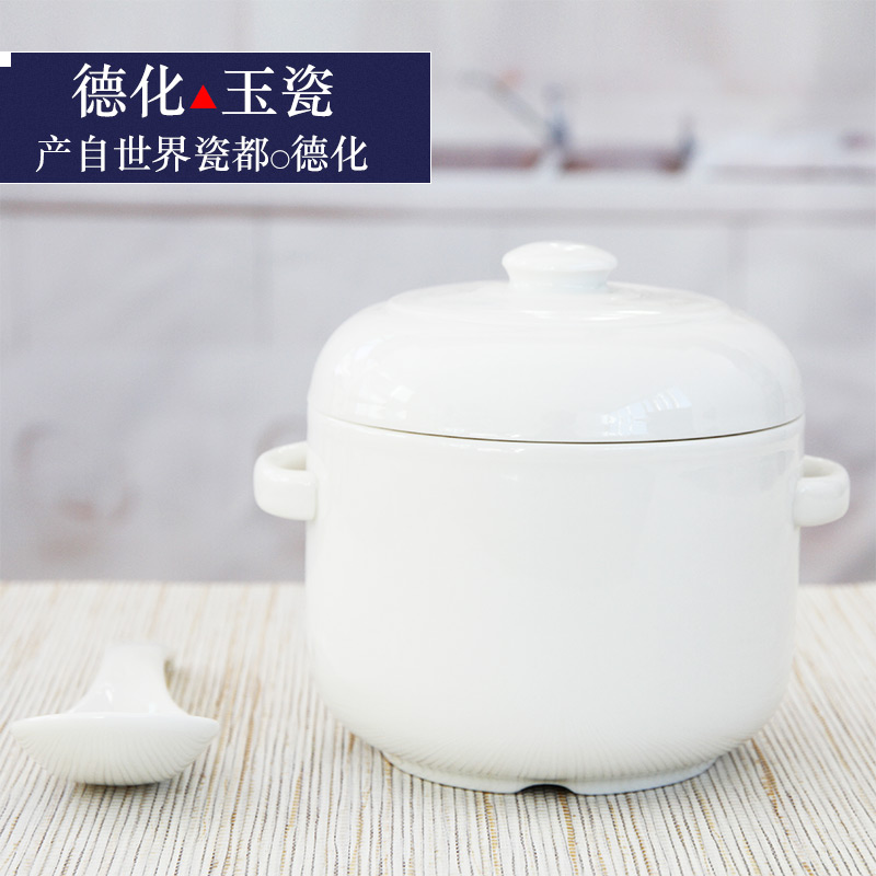 Ceramic Waterproof Stew Cup Double Lid and Double Ear Stew Pot