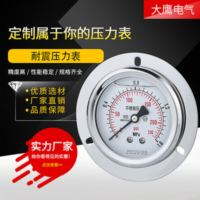 Stainless steel shock pressure meter YN60ZTBF back hydraulic pressure pressure water pressure 2 points 4 points M14 * 1.5 axial direction