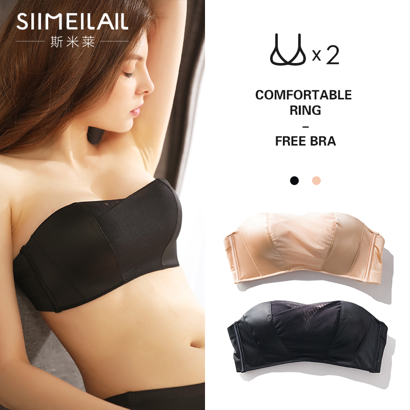 Strapless anti-light wrap chest thick chest gather bra bra stealth non-slip female underwear summer thin section