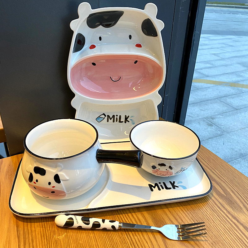 Express cartoon cow baby tableware ceramic plate domestic creative children rice dish plate frame plates for breakfast
