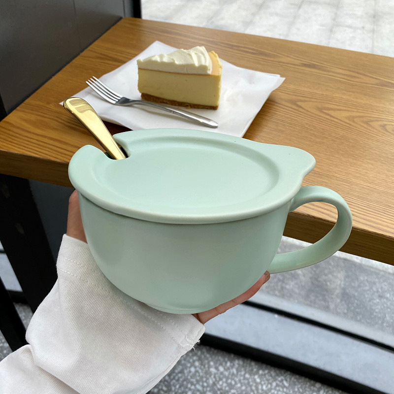 Korean contracted ceramic breakfast cup with cover run soup cup home large capacity handle cup oatmeal milk cup
