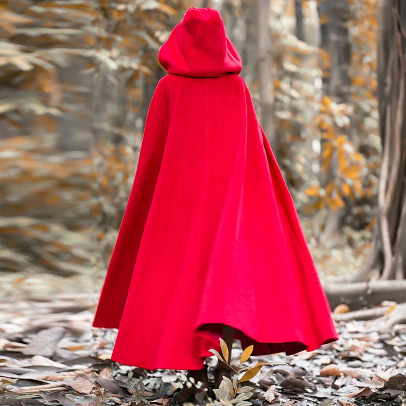 冬装加厚披风外套文艺大红色巫师帽大摆超长款斗篷毛呢复古大衣女