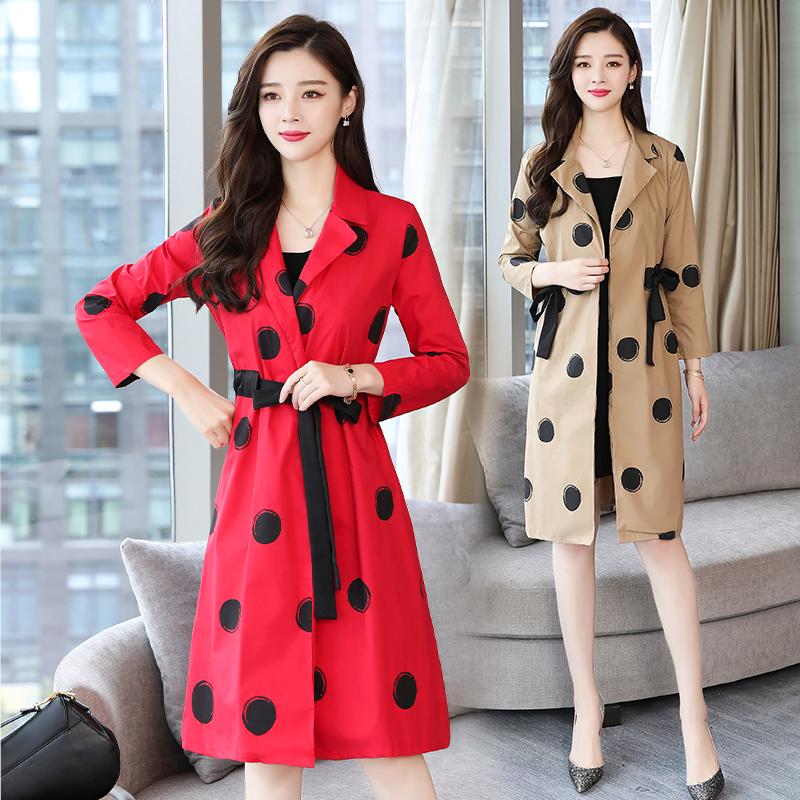 红色女士中长款韩版春季2019新款气质波点女装外套秋天薄风衣过膝