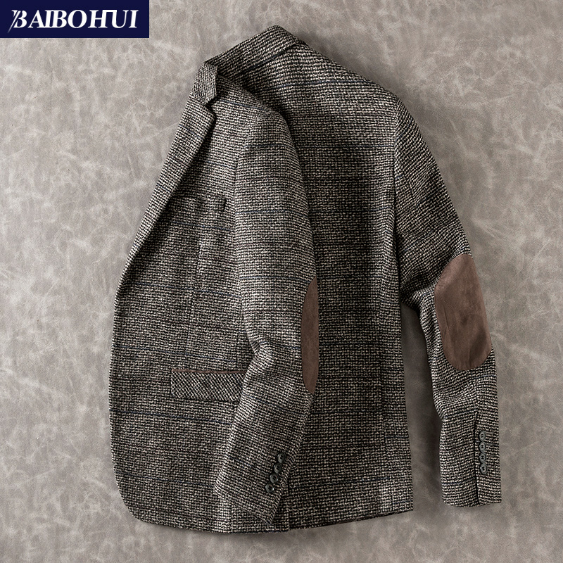 秋季新款中年单件v单件上衣小西装外套时尚修身男士呢子西服男商务