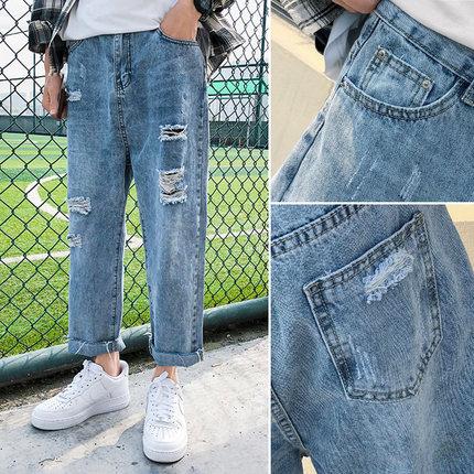 卡地班 男潮流破洞牛仔裤