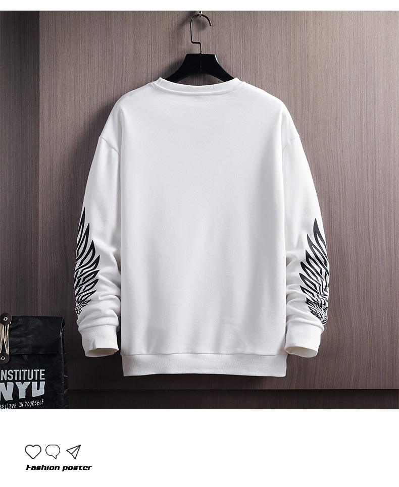 2020 new autumn sweater men's round collar print loose trend couple no hat on the clothes men's long-sleeved casual 44 Online shopping Bangladesh