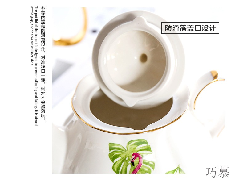 Qiao mu ins flamingos ceramic gold spend coffee lovers mark cup for cup teapot teacup saucer breakfast cup