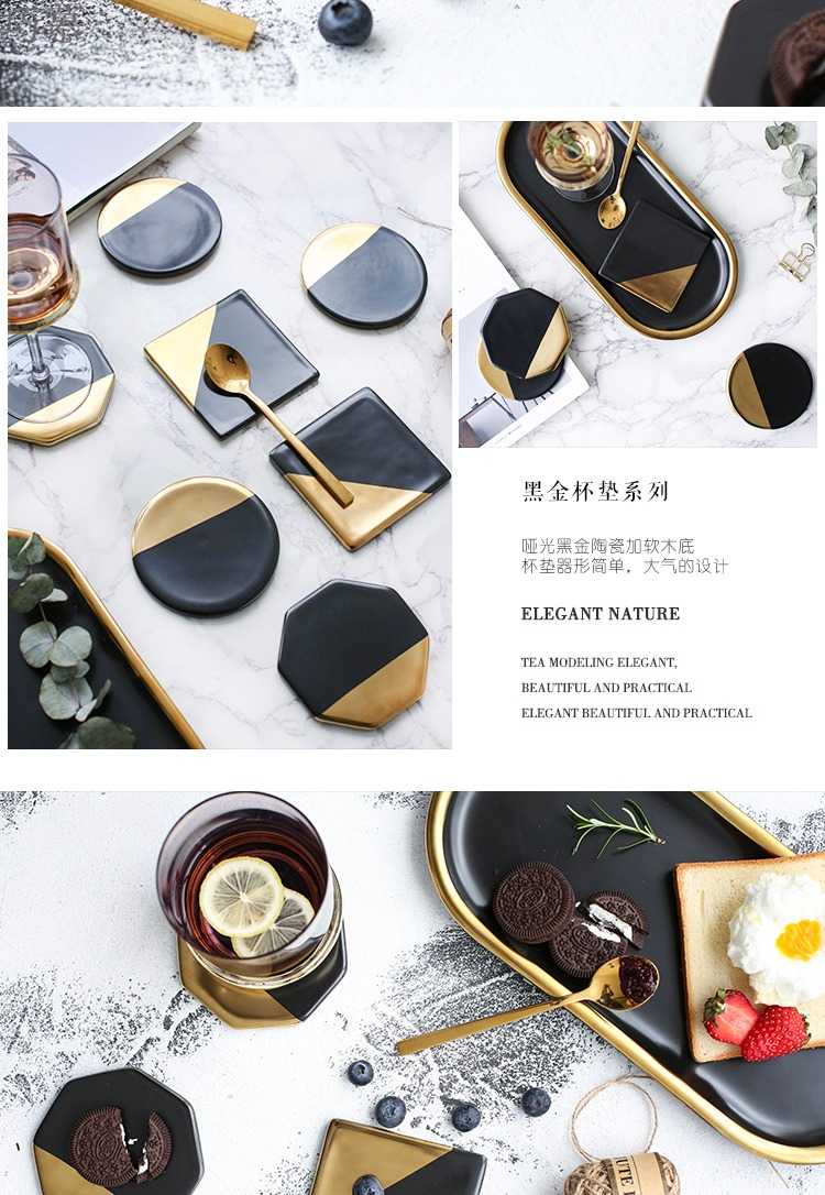 Qiao mu CDW northern wind black ceramic cup mat bottom lawsuits household use as antiskid heat insulation cup mat GD - 4