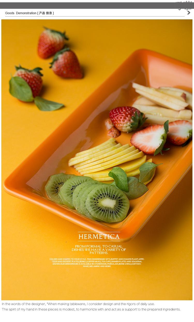 Qiao mu DY western - style ceramic western food steak plate paella pan orange gradient strip plate plate baking dish