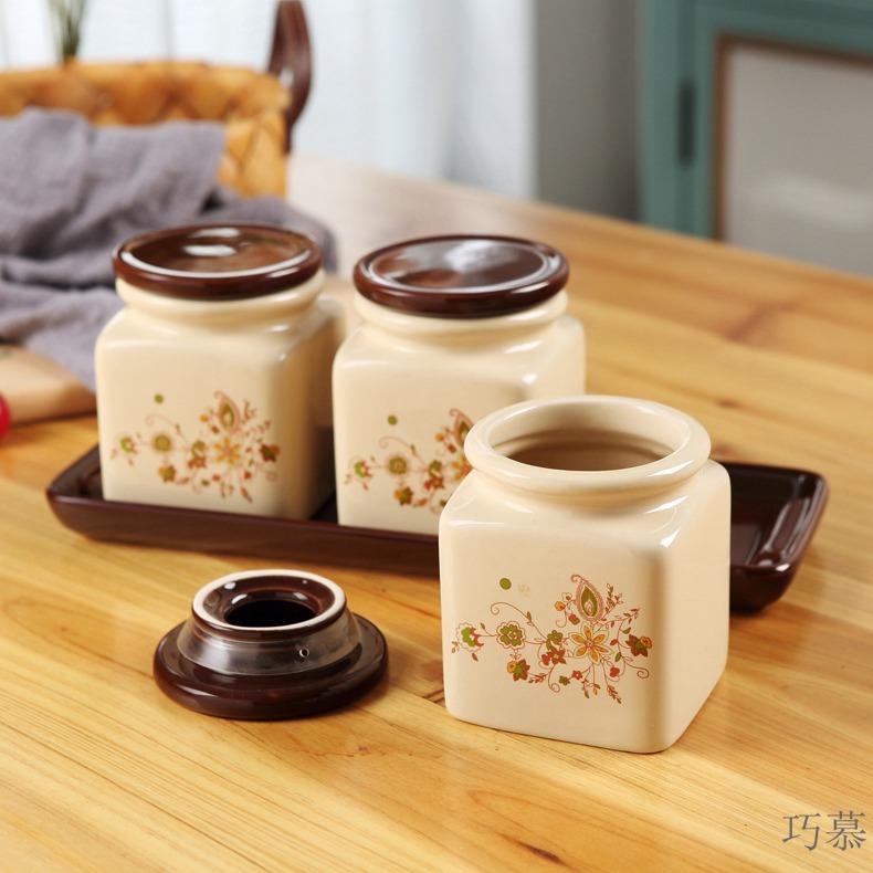 Qiao mu ceramic tea boxes warehouse sealed storage tank pu 'er tea pot seal caddy fixings kung fu tea POTS