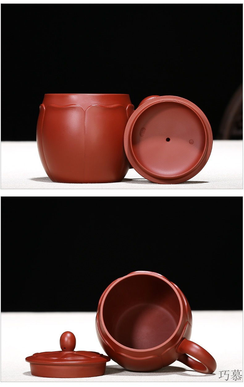 Qiao mu, yixing purple sand cup pure manual office water cover cup of ceramic tea cup tea ling flower bud cup