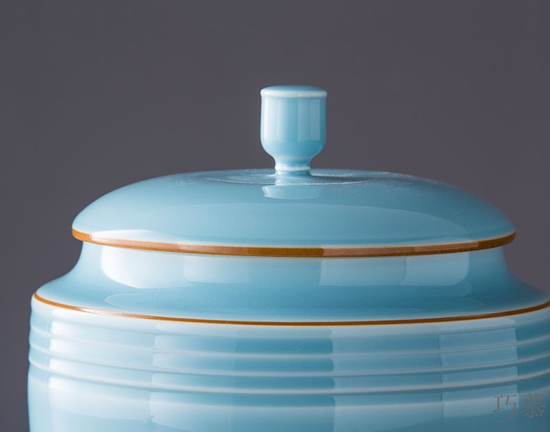 Qiao mu ceramic insect - resistant imitation of barrel ricer box with cover of jingdezhen famous master manual celadon caddy fixings storage