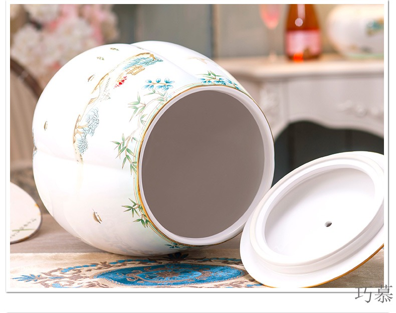 Qiao mu European ceramic ricer box 10 kg barrel 5 kg with cover seal storage tank with moistureproof insect - resistant decoration