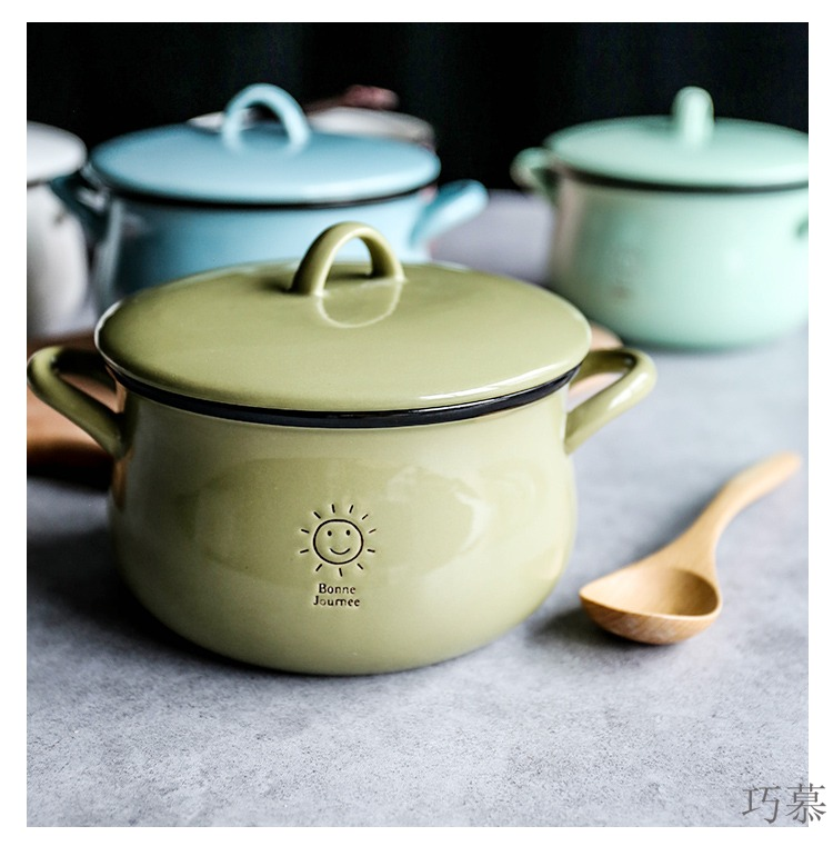Qiao mu candy color, lovely ceramic ears rainbow such as bowl soup bowl with cover mercifully salad bowl household small saucepan rainbow such use