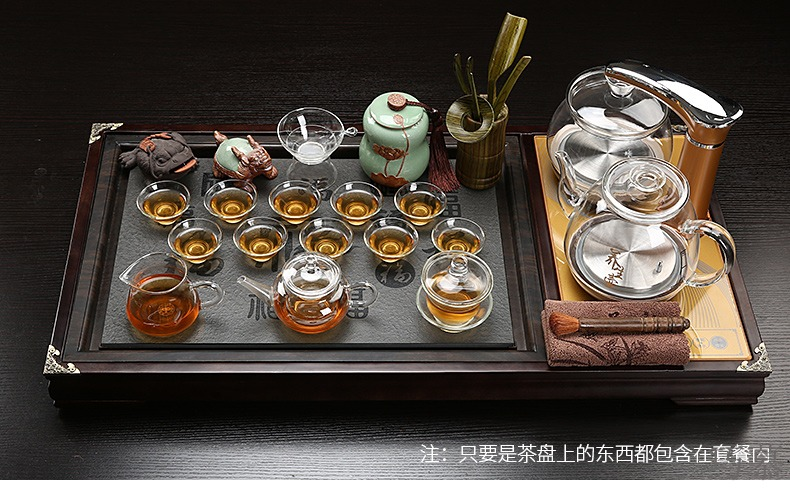 Qiao mu kung fu of a complete set of ceramic tea set domestic glass automatic induction cooker real wood sharply stone tea tray