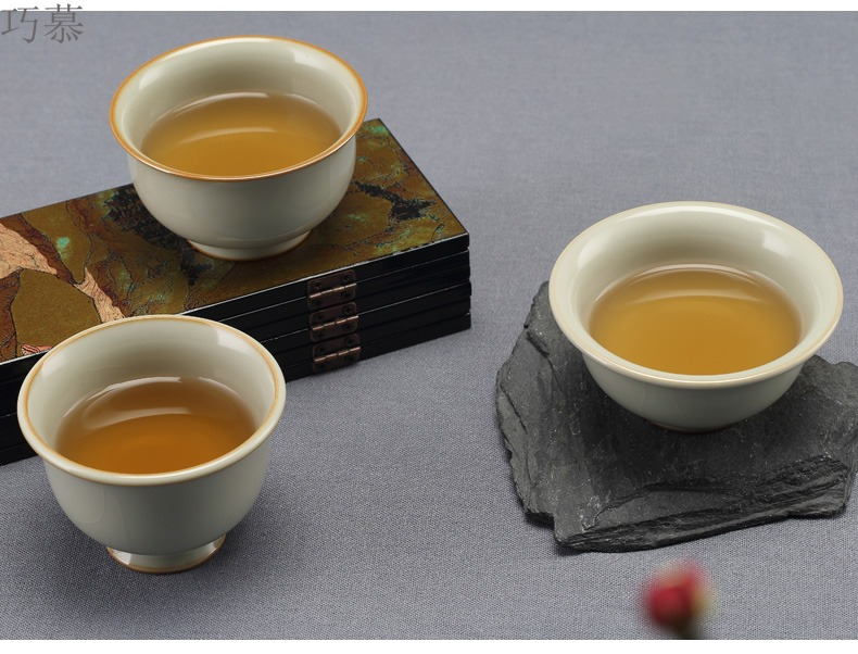 Qiao mu jingdezhen ceramic cups manually measured your up sample tea cup opening can raise the master cup from the single CPU