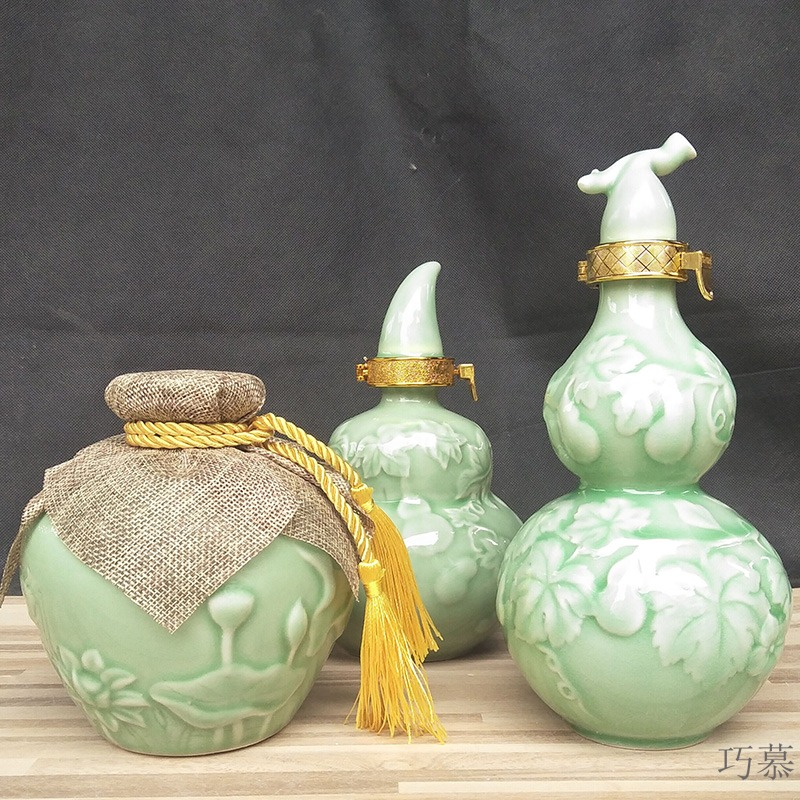 Qiao mu jingdezhen ceramic small bottle sealed empty wine bottle 1 catty, pure and fresh and reliefs green glaze gourd wine
