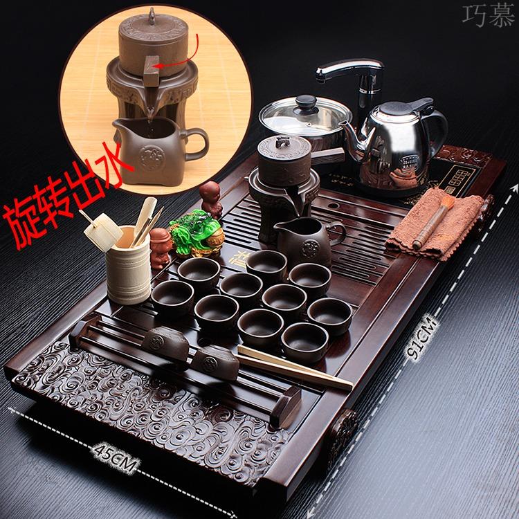Qiao mu lazy stone mill tea set domestic ceramic purple sand automatic induction cooker teapot teacup tea tea tray