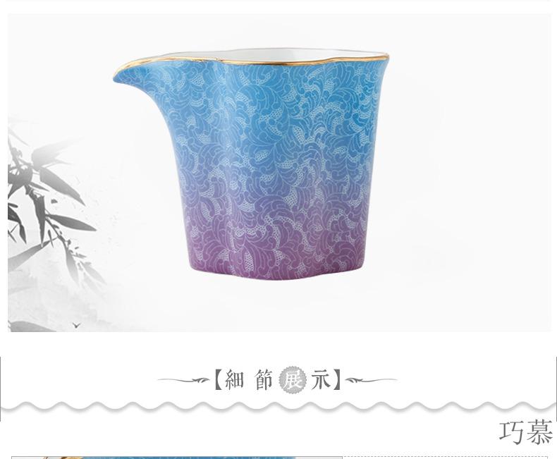 Qiao mu pick flowers, jingdezhen ceramic fair keller kung fu tea set points make tea tea is a cup of tea and a cup of sea S32034