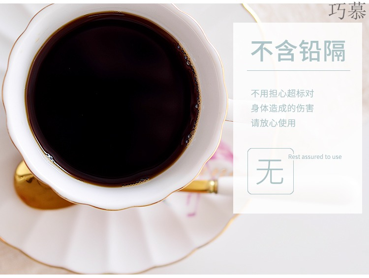 Qiao mu ins girl heart coffee cups and saucers suit ceramic coffee cup European - style key-2 luxury contracted household of small black tea