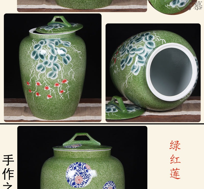 Qiao mu jingdezhen ceramic barrel 100 jins home with cover large flour rice box tea cylinder storage jars seal