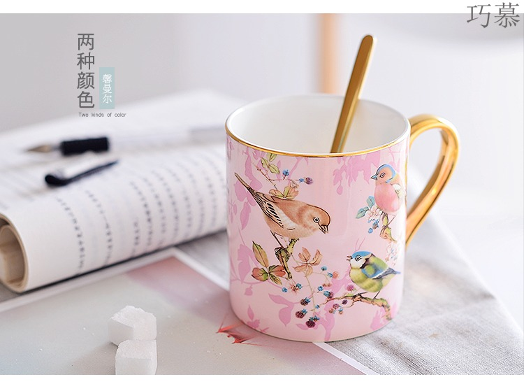 Qiao mu Nordic ceramic cup ins creative mark cup coffee keller with spoon ipads China small European - style key-2 luxury in the afternoon