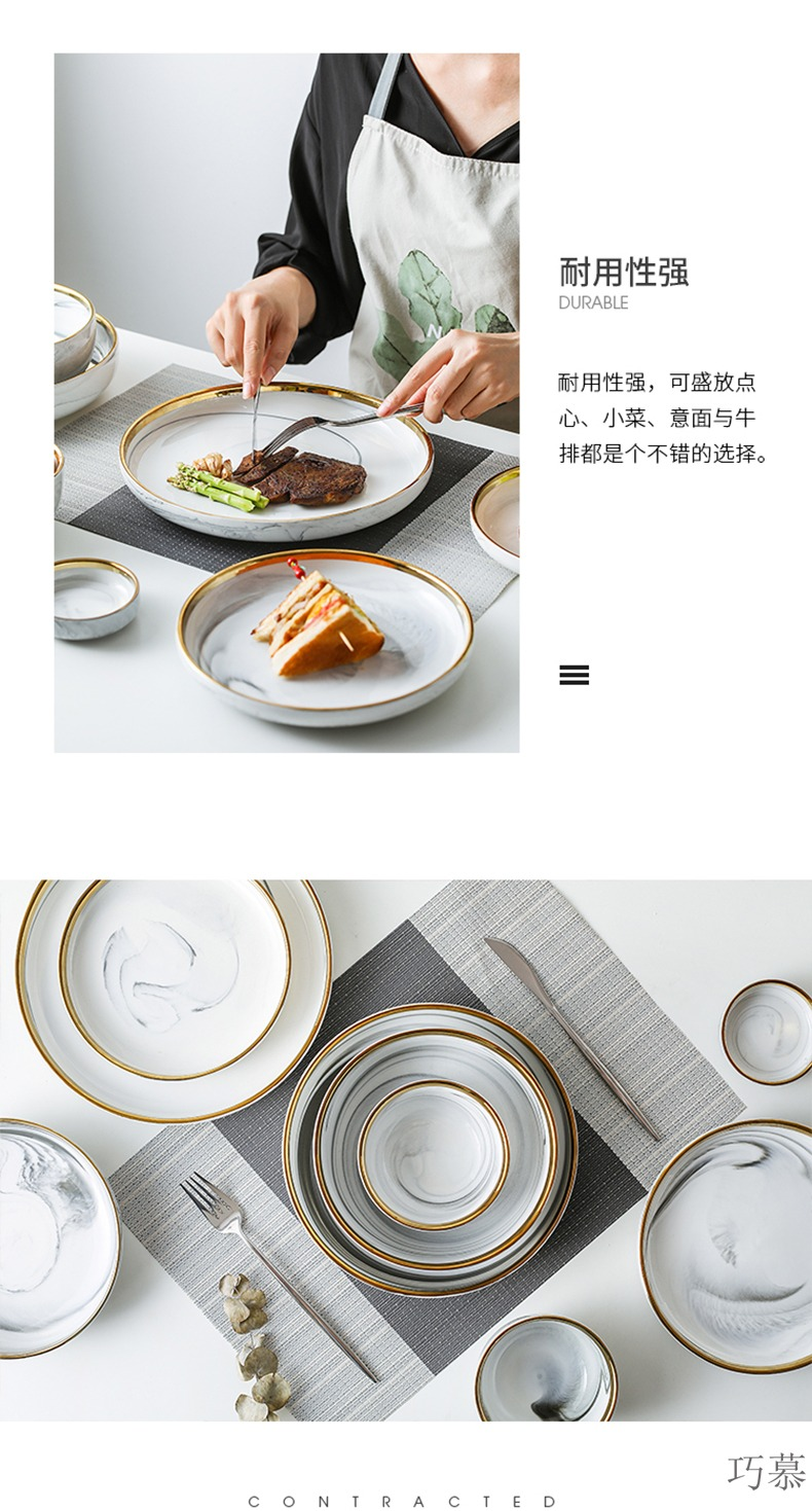 Qiao mu MLJ marble up phnom penh household utensils soup bowl rainbow such use ceramic rice bowl dishes suit the salad bowl