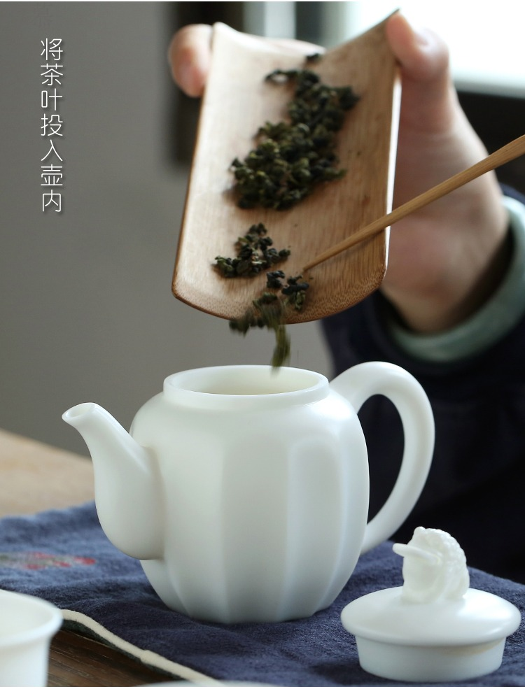 Qiao mu dehua ceramic tureen biscuit firing porcelain single hand pot home office suit creative tea filter mercifully