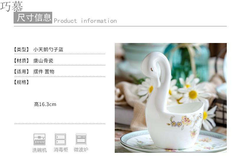 Qiao mu creative swan ipads porcelain tableware fruit fork set base west tableware coffee spoons chopsticks tube shelf