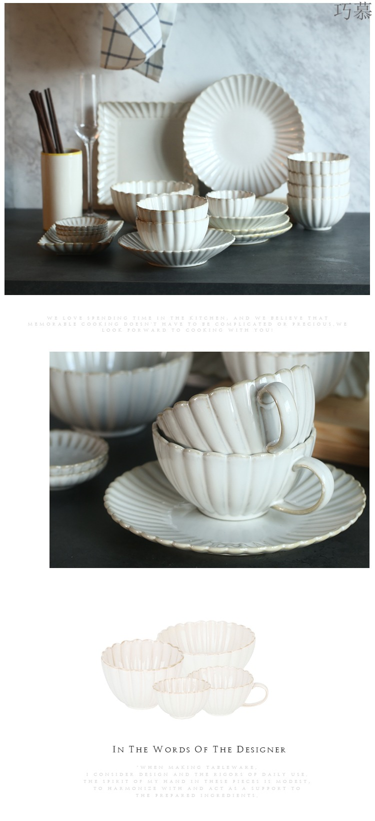 Qiao mu DY creative by dish ceramic tableware suit home plate combination dish dish bowl western - style food dish coffee cup