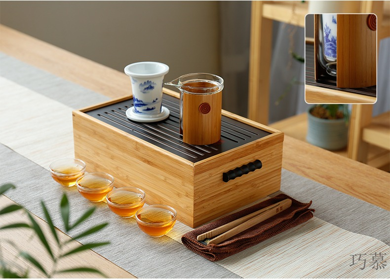 Travel for ceramic tea set opportunely celadon crack pot of glass suits for kung fu tea set of household solid wood tea tray