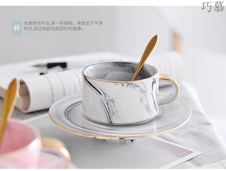 Qiao mu Nordic ins marble ceramic coffee cups and saucers set of small European - style key-2 luxury English afternoon tea, red tea cups