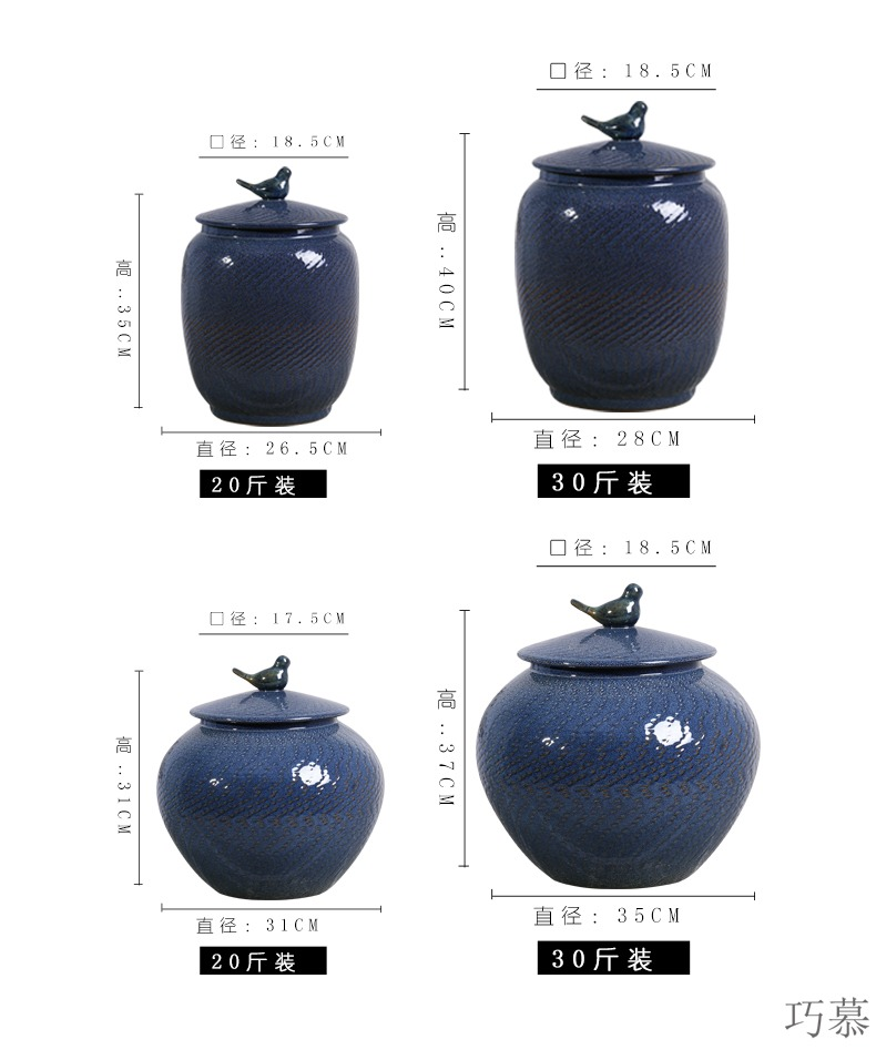 Qiao mu jingdezhen ceramic barrel storage bins with cover seal storage tank kg30 10 jins home moistureproof insect - resistant rice