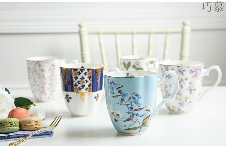 Qiao mu point ipads porcelain cup home coffee cup high - capacity European mark cup of water glass ceramic cup with a spoon