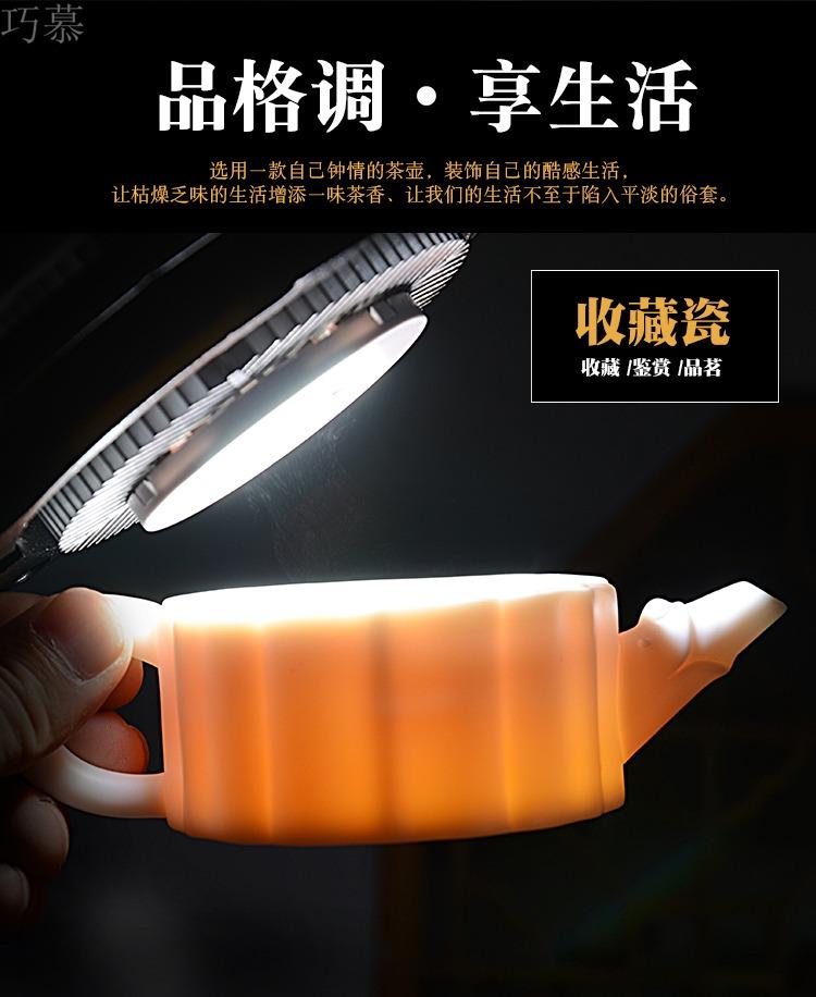 Qiao mu dehua white porcelain teapot Zeng Sumei checking ceramic teapot master Chinese white jade porcelain tea set little teapot
