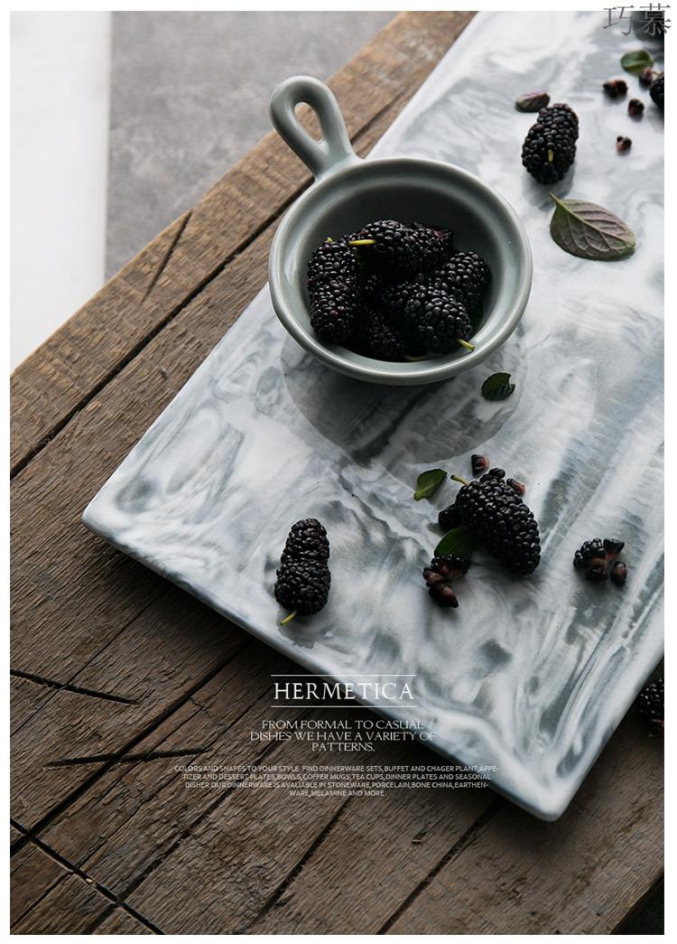 Qiao mu DY creative dish European ceramic tray dish food dish pastry bread board rectangular tray