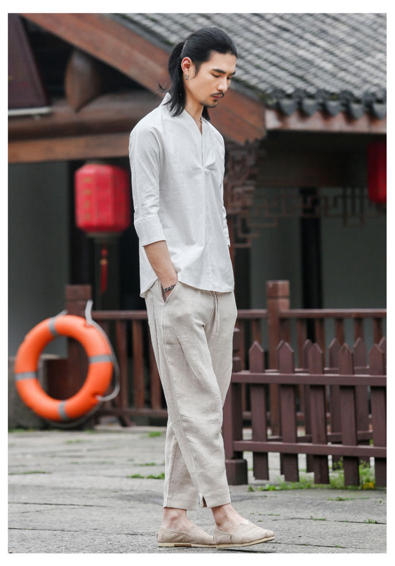 Trung quốc phong cách quần linen nam lỏng kích thước lớn quần âu quần chân rộng harem mùa hè phần mỏng cotton thoáng khí và linen quần dài