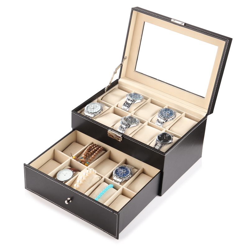 DELUXE DOUBLE-LAYER 20-BIT WATCH BOX (GLASS COVER)