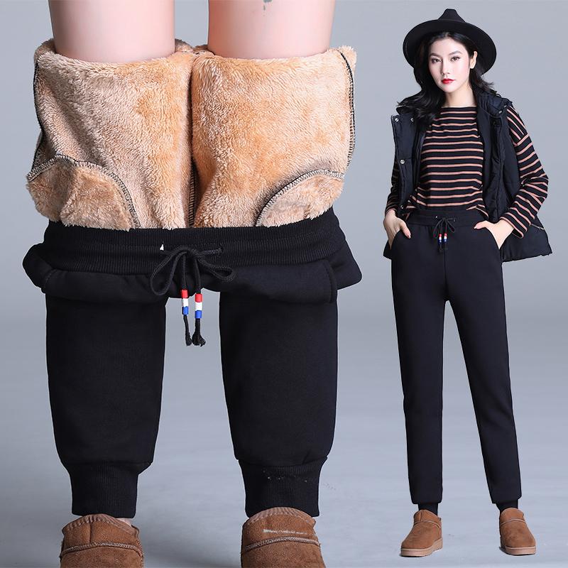 羊羔绒卫裤女直筒高腰保暖长裤冬季宽松大码加绒运动休闲裤子加厚