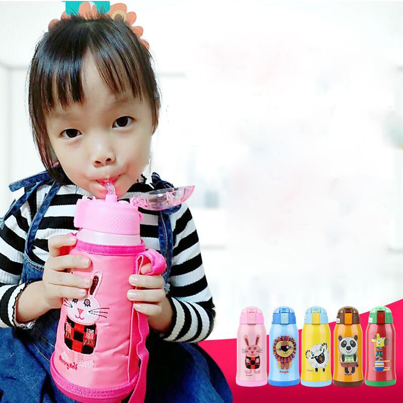 班尼兔儿童保温杯带吸管杯子两用316不锈钢幼儿园小学生防摔水壶