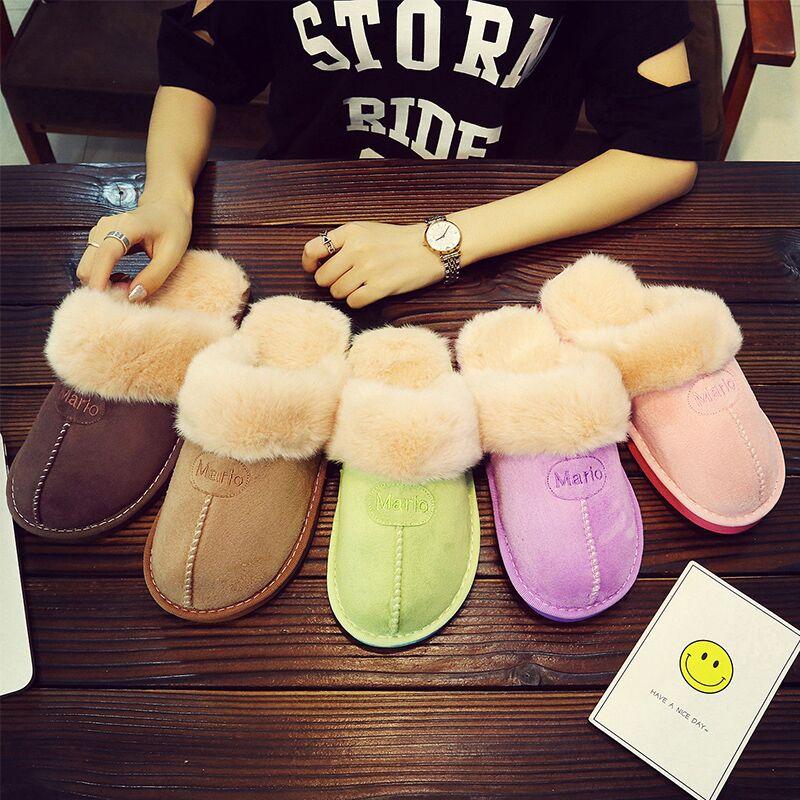 冬天拖鞋男冬家居情侣毛拖鞋女式冬季可爱月子鞋居家包跟托鞋韩版