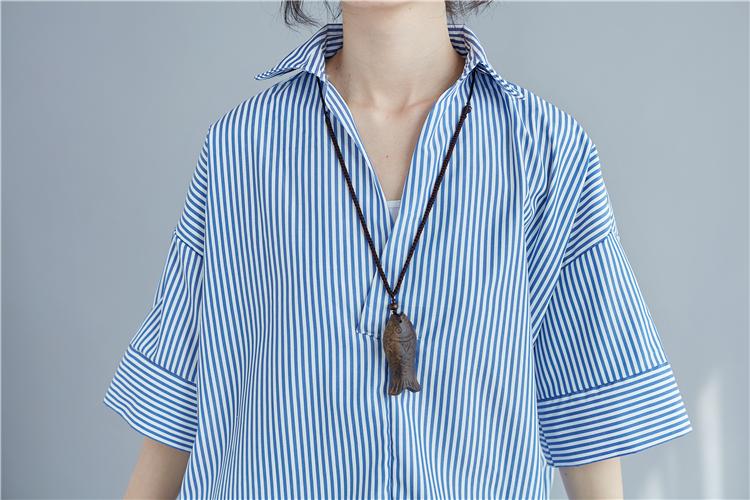 上衣條紋翻領寬鬆小襯中大尺碼棉麻衫【KX0774】新品