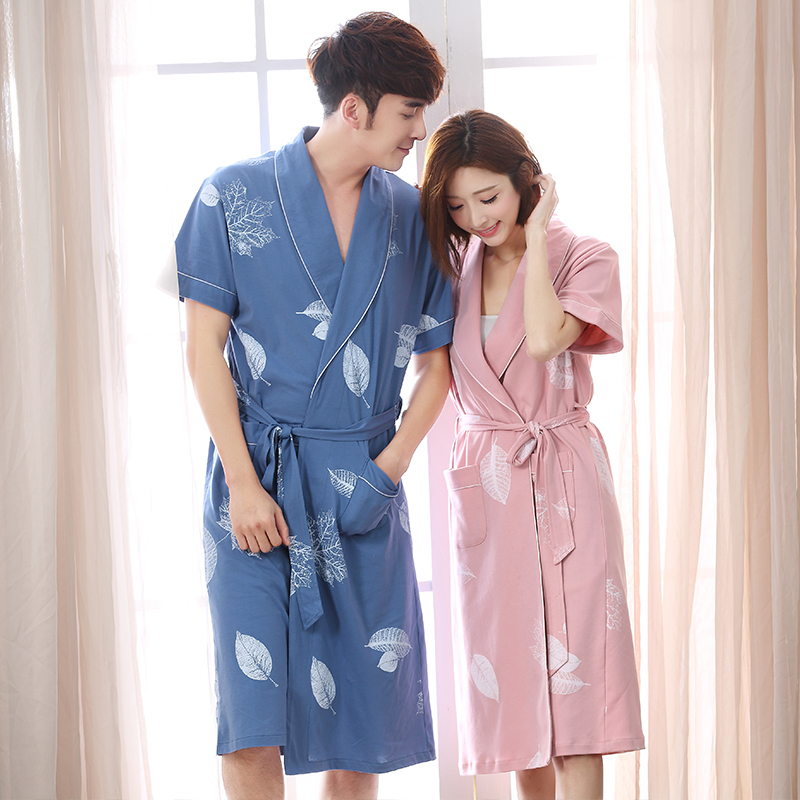 f86d29c78c Nightgown female summer cotton long couple bathrobe thin section sexy large  size men s Japanese pajamas short